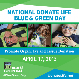 2015 National Donate Life Month Blue and Green Day