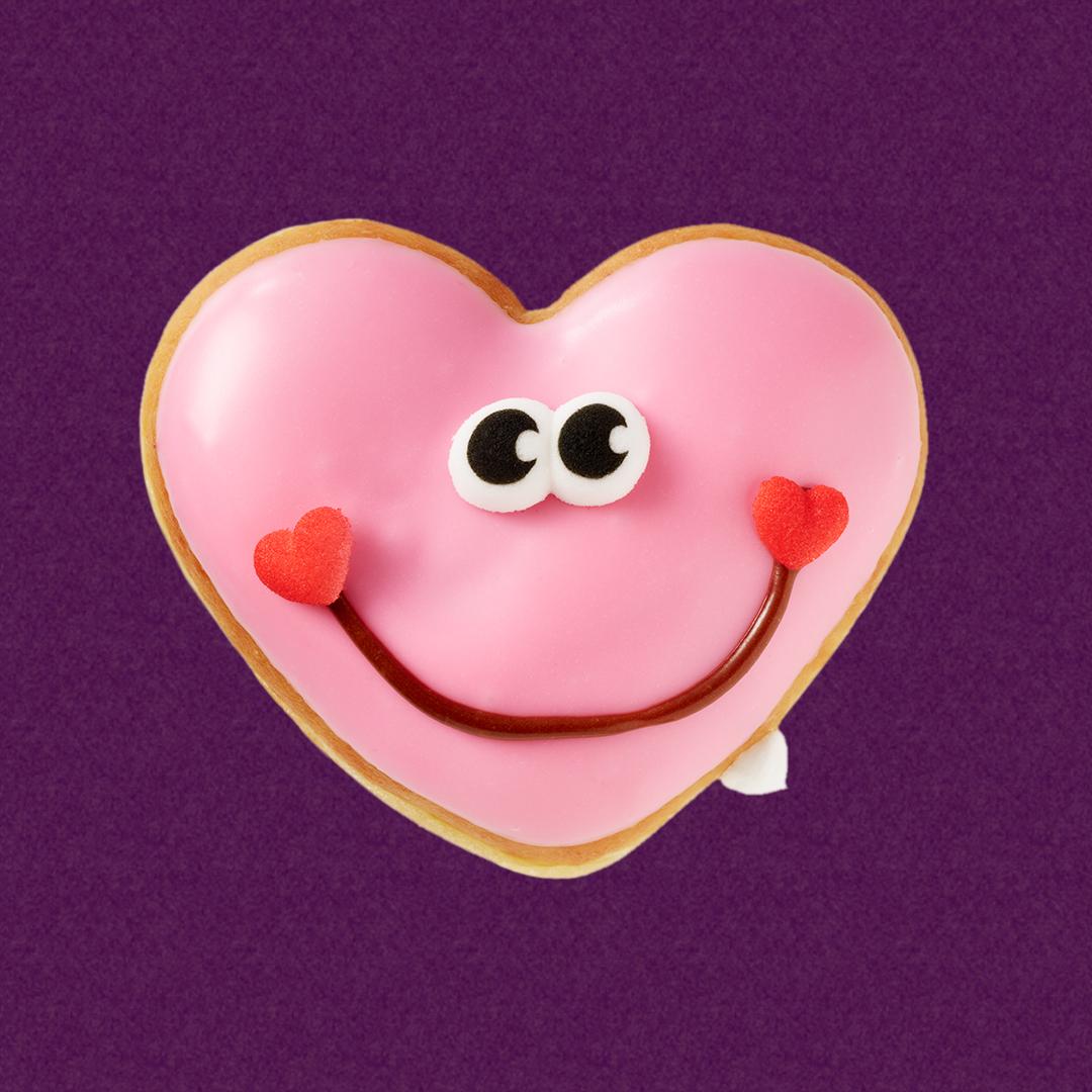 happy hearts krispy kreme doughnuts showcases heart shaped