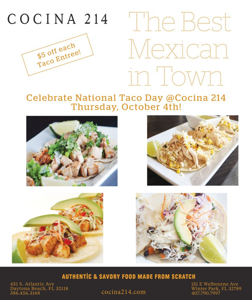 Celebrate National Taco Day in Orlando - October 4