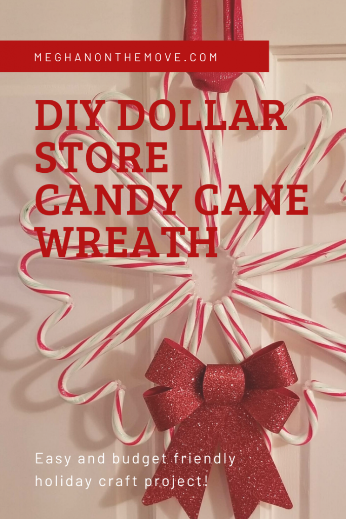 DIY Dollar Store Candy Cane Wreath